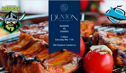 Raiders vs Sharks: Ticket & meal at The Duxton
