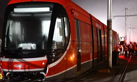Like a thief in the night the light rail hits the tracks