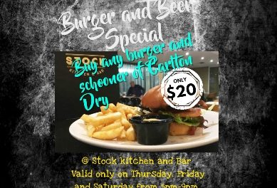 Burger Special at Stock kitchen and Bar at Mantra on Northbourne.